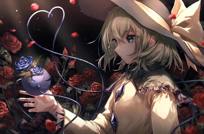 bow flowers green_eyes green_hair hat komeiji_koishi leaves mozuno_(mozya_7) rose tears touhou