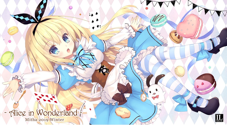 alice_in_wonderland alice_(wonderland) apron aqua_eyes blonde_hair corset dress food headband lolita_fashion long_hair mitha stockings waifu2x watermark