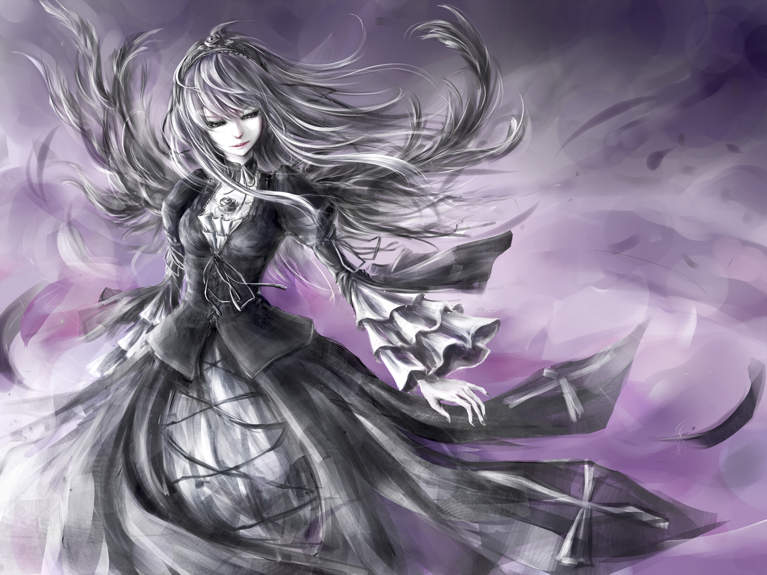 gray_hair long_hair prince_marimo rozen_maiden suigintou wings