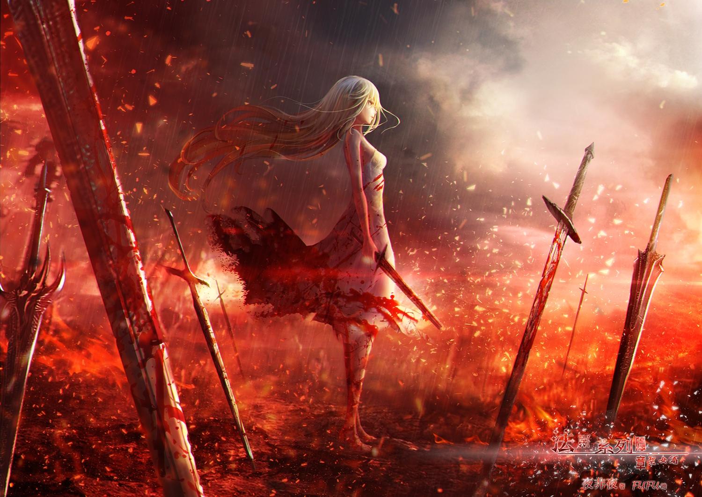 blonde_hair blood fufu long_hair original sword watermark weapon