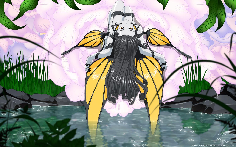 aa_megami-sama flowers grass gray_hair leaves morgan_le_fay vector water wings yellow_eyes