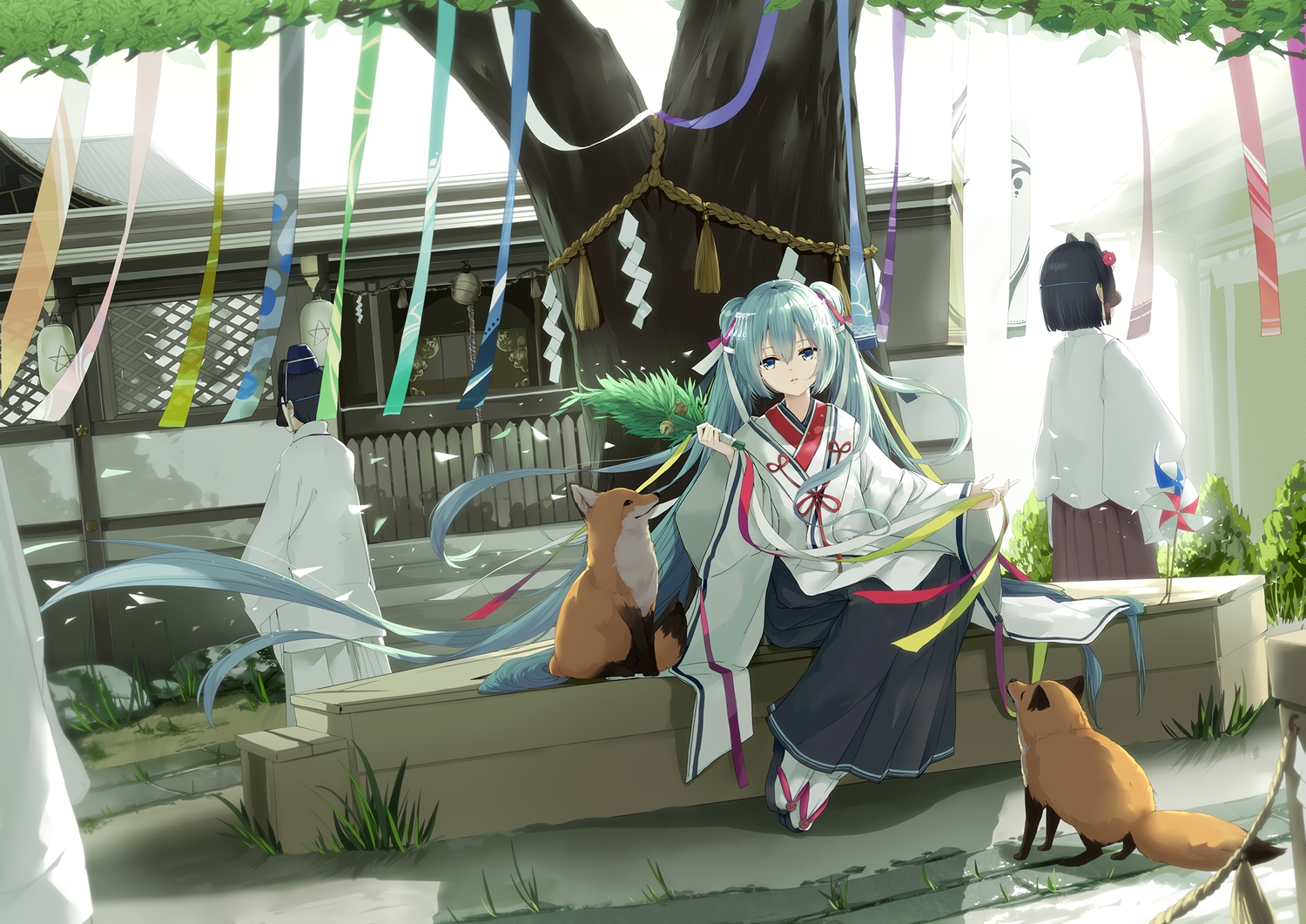 animal bell blue_eyes building fox grass green_hair hatsune_miku japanese_clothes kyod+ long_hair male mask miko ribbons rope shrine tree twintails vocaloid