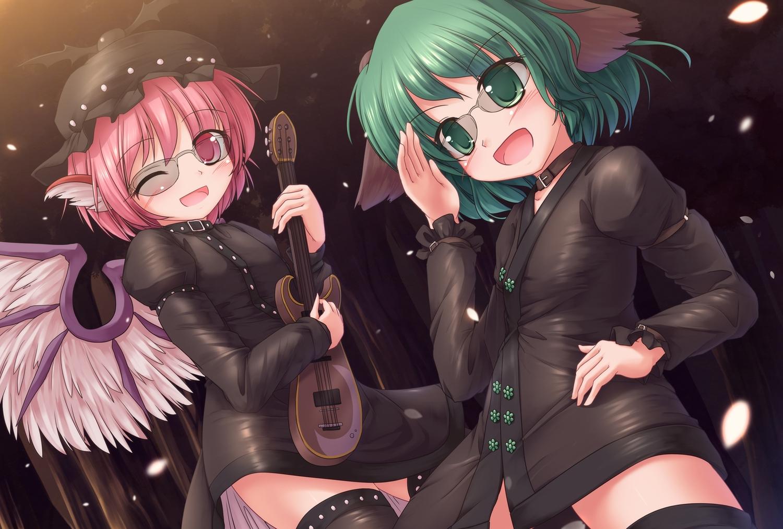 2girls animal_ears glasses green_eyes green_hair hat kasodani_kyouko lzh mystia_lorelei pink_hair short_hair thighhighs touhou wings