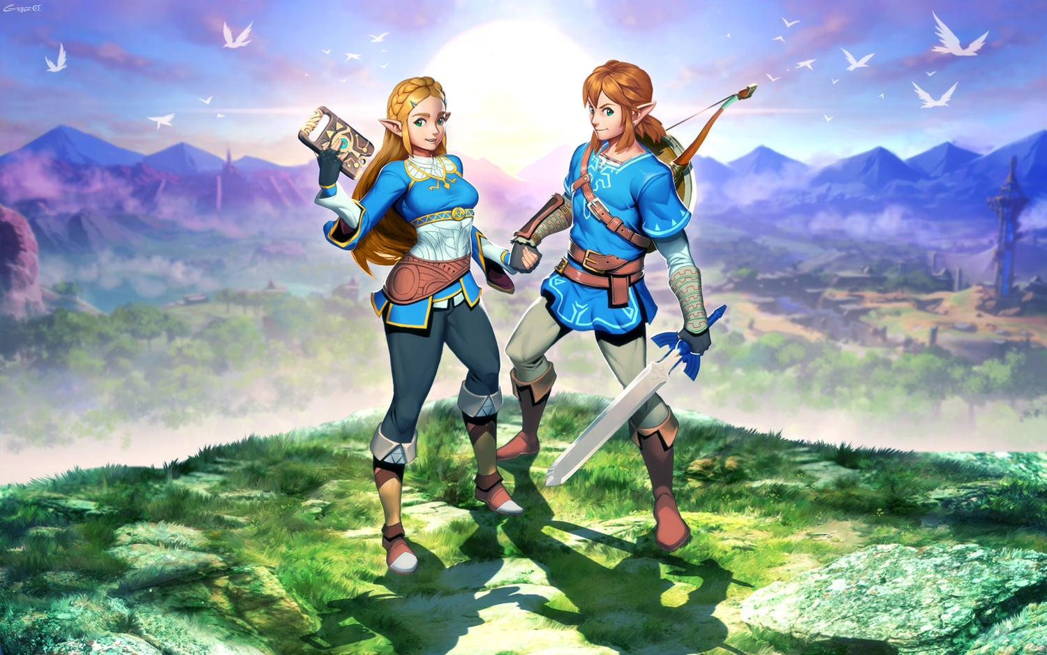 animal bird blonde_hair blue_eyes boots bow_(weapon) braids brown_hair building clouds computer genzoman gloves grass link_(zelda) long_hair male pointed_ears ponytail princess_zelda scenic signed sky sword the_legend_of_zelda weapon