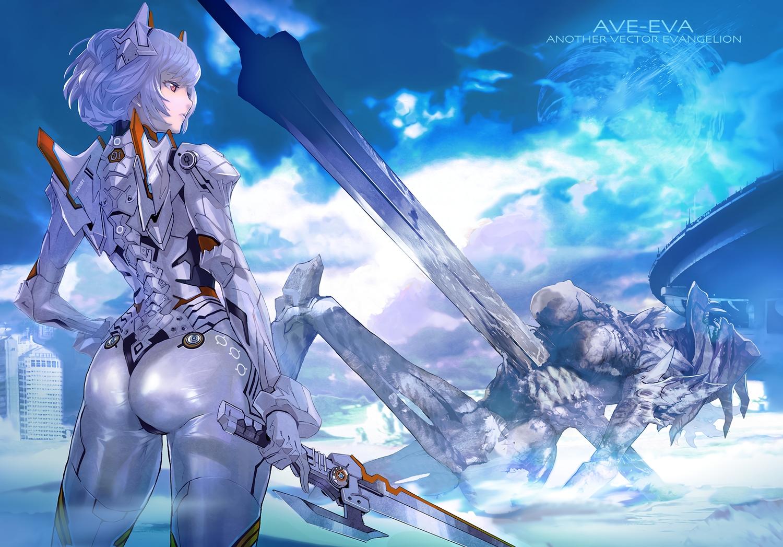armor ass ayanami_rei blue_hair bodysuit clouds maeshima_shigeki mecha neon_genesis_evangelion pink_eyes ruins short_hair skintight sky sword weapon