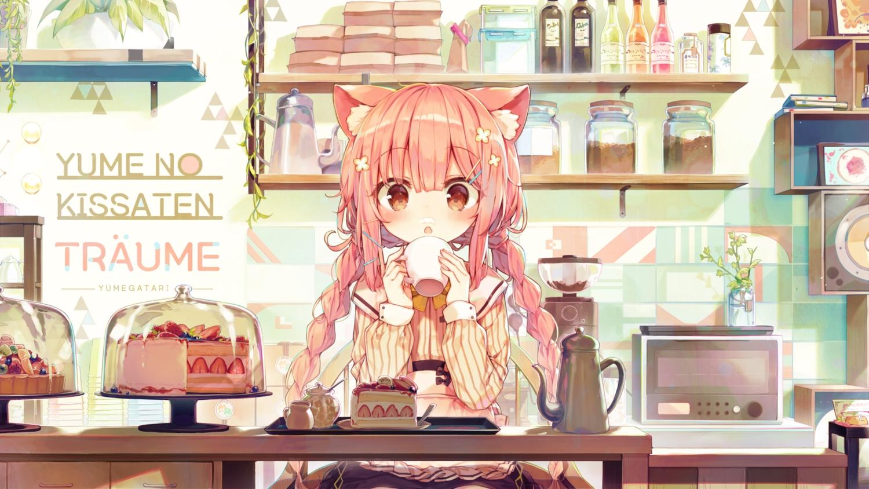 animal_ears apron blush bow braids cake catgirl drink fang food fruit long_hair original pink_hair red_eyes shinoba shirt skirt strawberry twintails