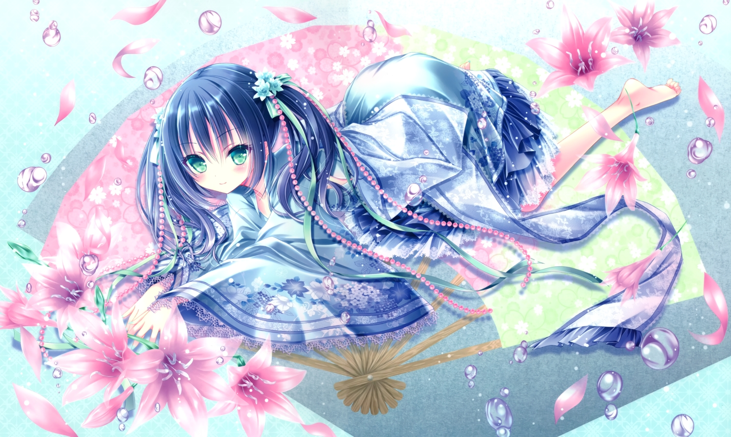 barefoot cropped flowers japanese_clothes lolita_fashion long_hair original scan tinkle twintails