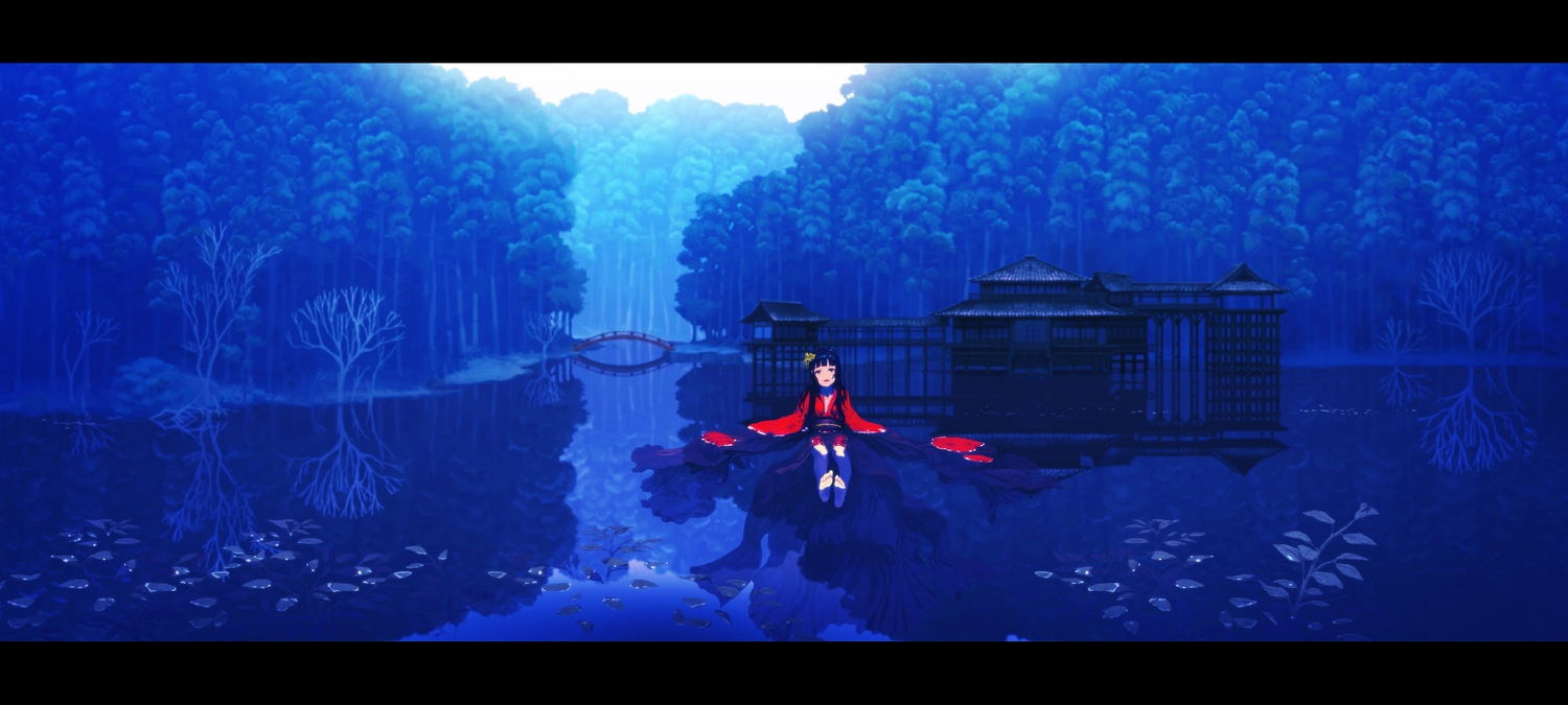 barefoot blue building forest japanese_clothes long_hair original polychromatic rias-coast scenic tree water wet