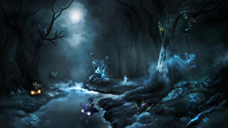 ariados clouds dark elgyem froslass halloween lunala luxray marshadow mimikyu necrozma phantump pikachu pokemon pumpkaboo sableye scenic sneasel tagme_(artist) tree water