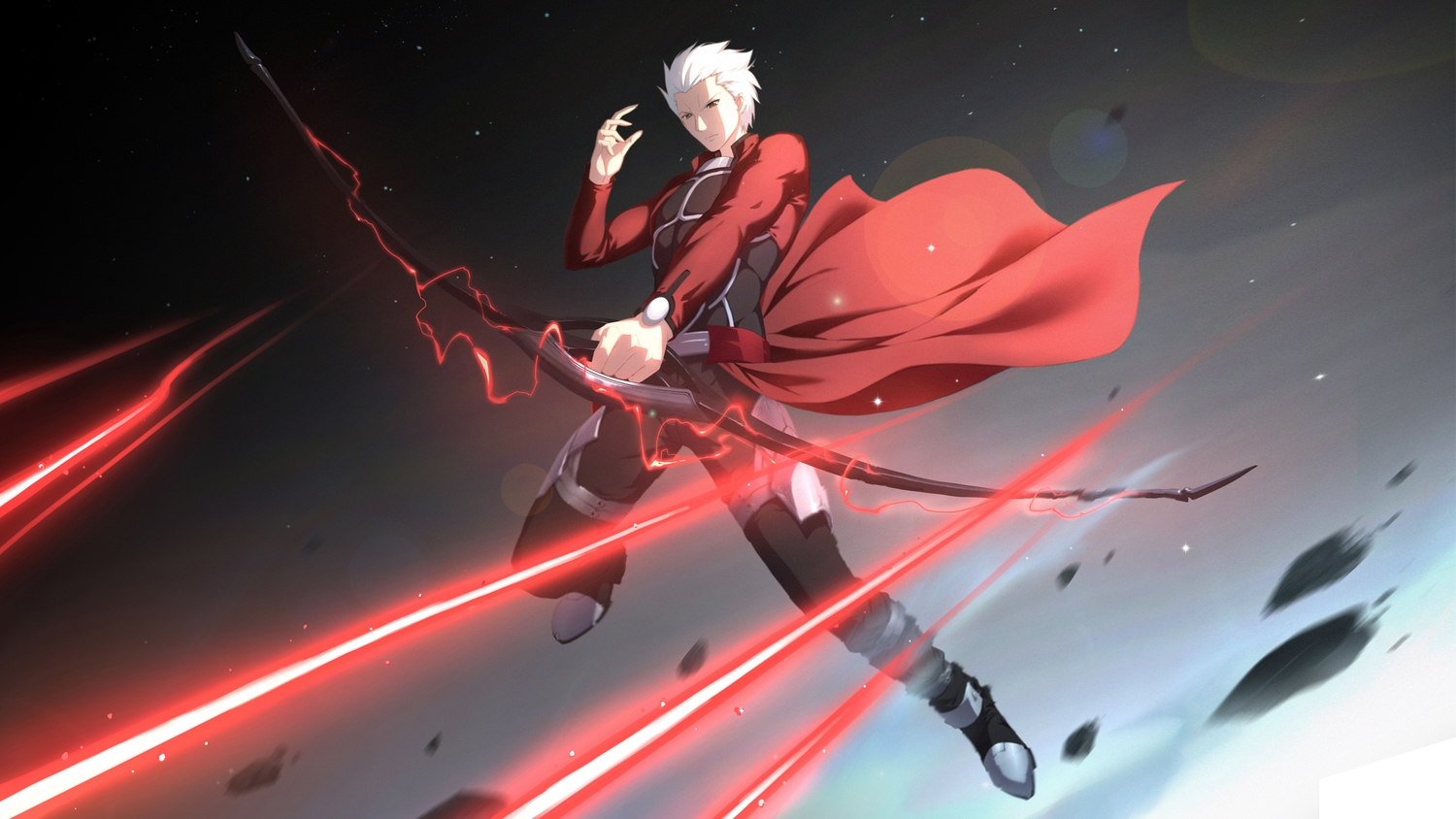 all_male archer bow_(weapon) brown_eyes cangkong fate_(series) fate/stay_night male short_hair weapon white_hair