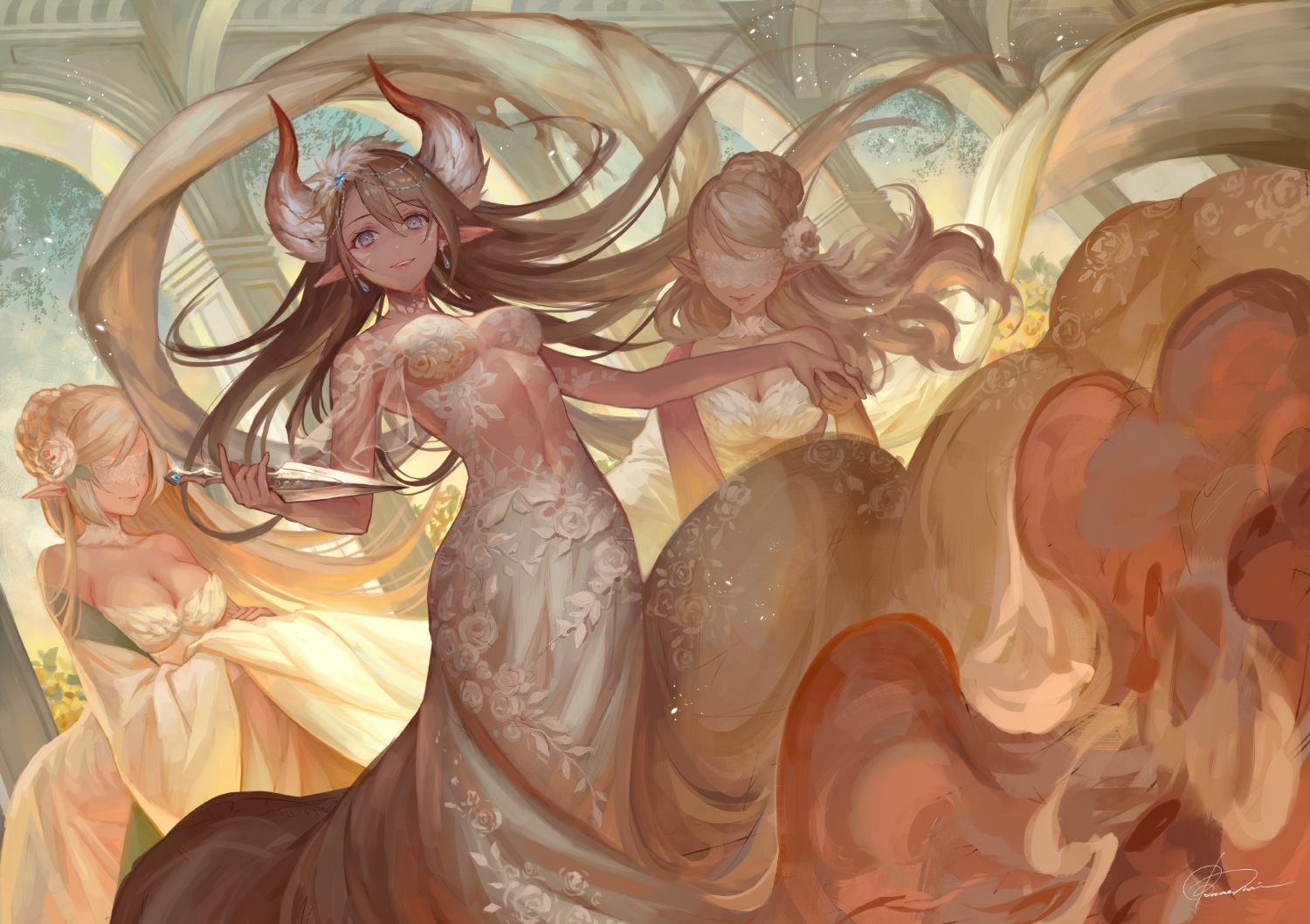 breasts brown_hair cleavage dress horns long_hair okuma_mai original pointed_ears signed