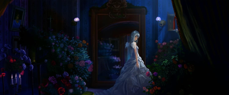 akibakeisena doll dress flowers gray_hair night red_eyes rose rozen_maiden suigintou wings