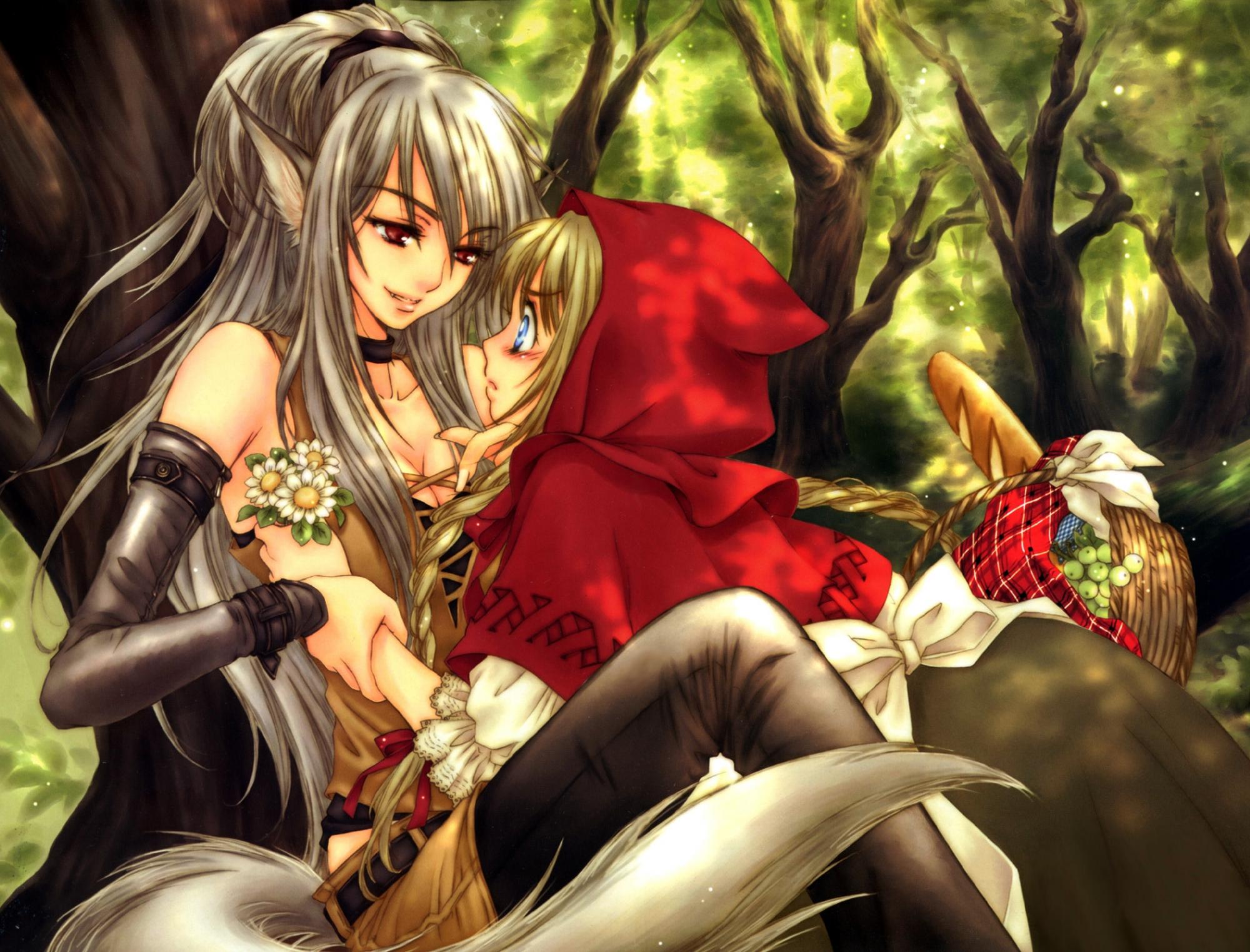 2girls animal_ears anthropomorphism big_bad_wolf flowers food little_red_riding_hood red_eyes red_riding_hood sakura_shio shoujo_ai tail wolfgirl