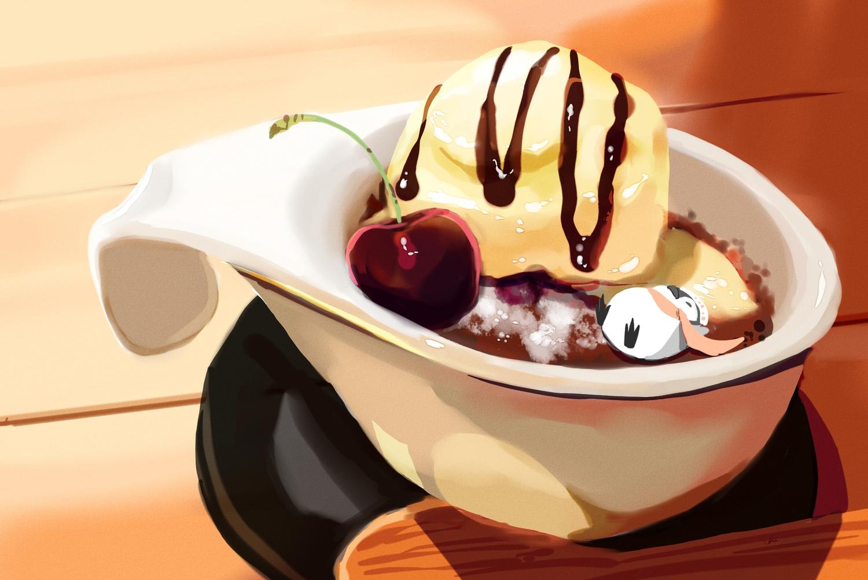 animal chai_(artist) cherry chocolate food fruit hat ice_cream original penguin scarf signed