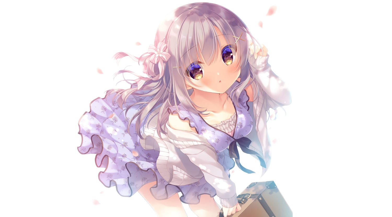blush brown_eyes cherry_blossoms dress flowers gray_hair long_hair original summer_dress third-party_edit white yukie