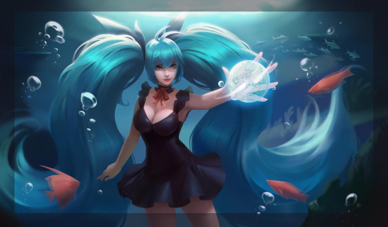 animal aqua_eyes aqua_hair breasts cleavage deep-sea_girl_(vocaloid) fish hatsune_miku realistic tagme_(artist) underwater vocaloid water
