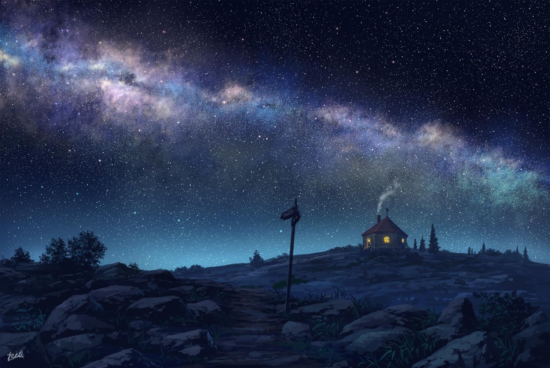 night nobody original pei_(sumurai) polychromatic scenic signed stars tree