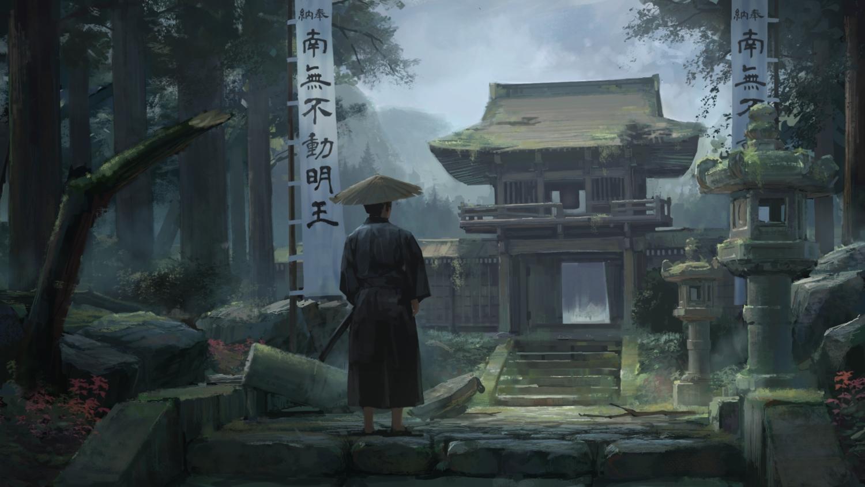 all_male hat katana male mikado_(winters) original samurai stairs sword translation_request tree weapon