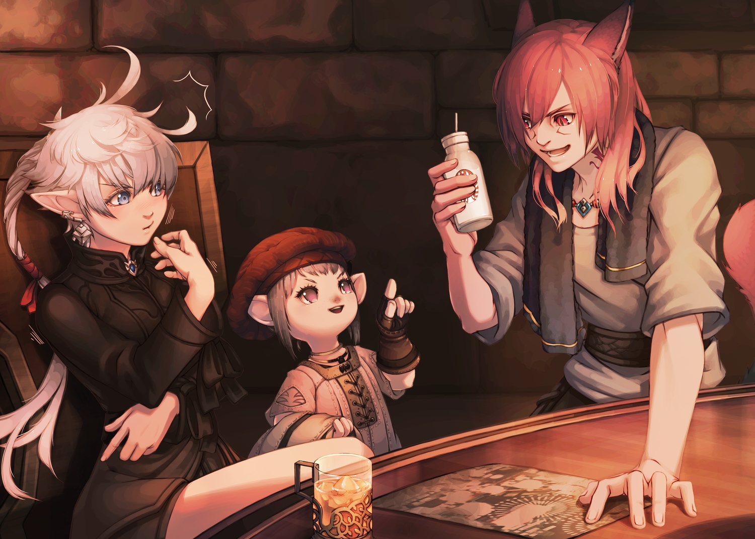 2girls alisaie_leveilleur animal_ears blue_eyes brown_eyes brown_hair catgirl elezen final_fantasy final_fantasy_xiv gloves g'raha_tia hat lalafell long_hair male mihira_(tainosugatayaki) miqo'te red_eyes red_hair short_hair tataru_taru tattoo towel white_hair