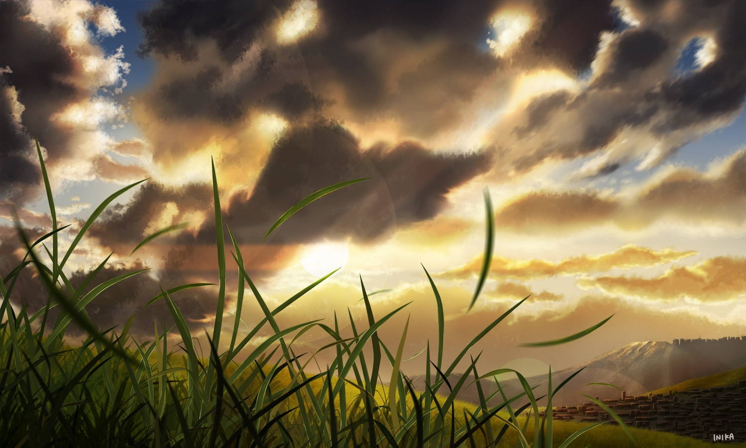 clouds grass inika nobody original scenic signed sky sunset