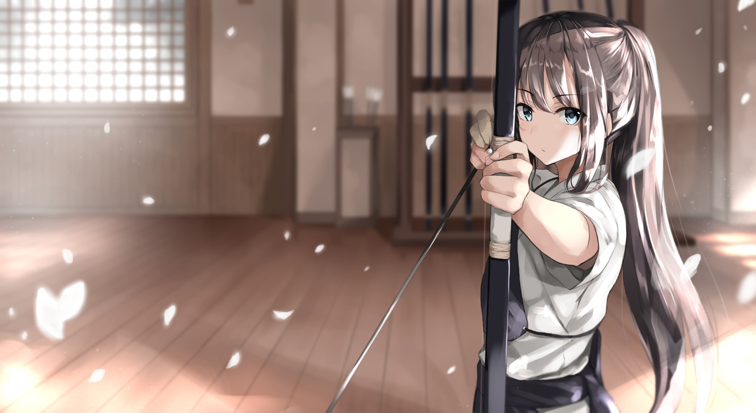 armor blue_eyes bow_(weapon) brown_hair fuu_(fuore) japanese_clothes long_hair original ponytail weapon