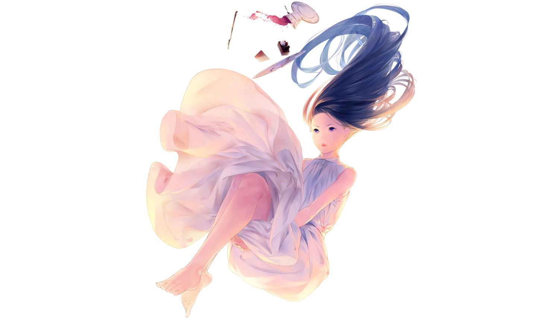 barefoot brown_hair cake dress drink food long_hair original purple_eyes sousou_(sousouworks) summer_dress white