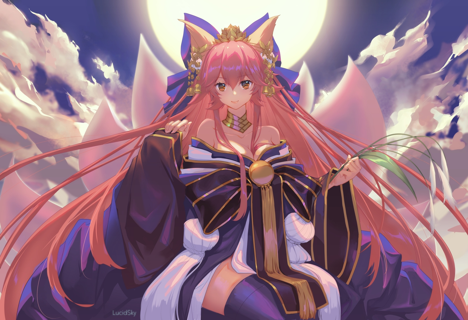 animal_ears clouds fate/grand_order fate_(series) foxgirl headdress japanese_clothes kimono long_hair moon multiple_tails orange_eyes pink_hair sky tail tamamo_no_mae_(fate) thighhighs watermark yume_ou