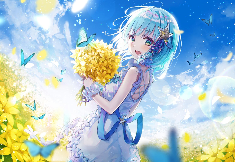 aqua_eyes aqua_hair blush butterfly clouds dress eumi_114 flowers ribbons sky