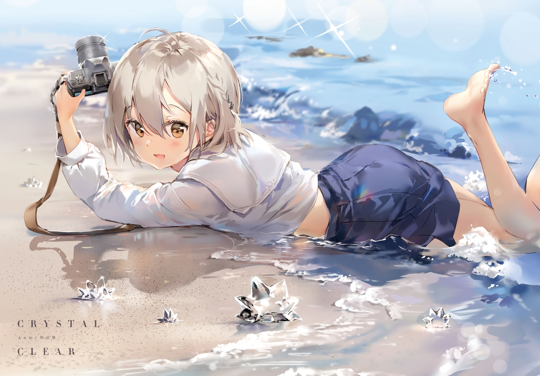 anmi barefoot beach blush braids brown_eyes camera cropped gray_hair scan school_uniform short_hair skirt water