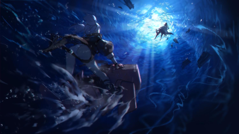 2girls anthropomorphism azur_lane bismarck_(azur_lane) blue_hair panties swd3e2 twintails u-556_(azur_lane) underwater underwear water