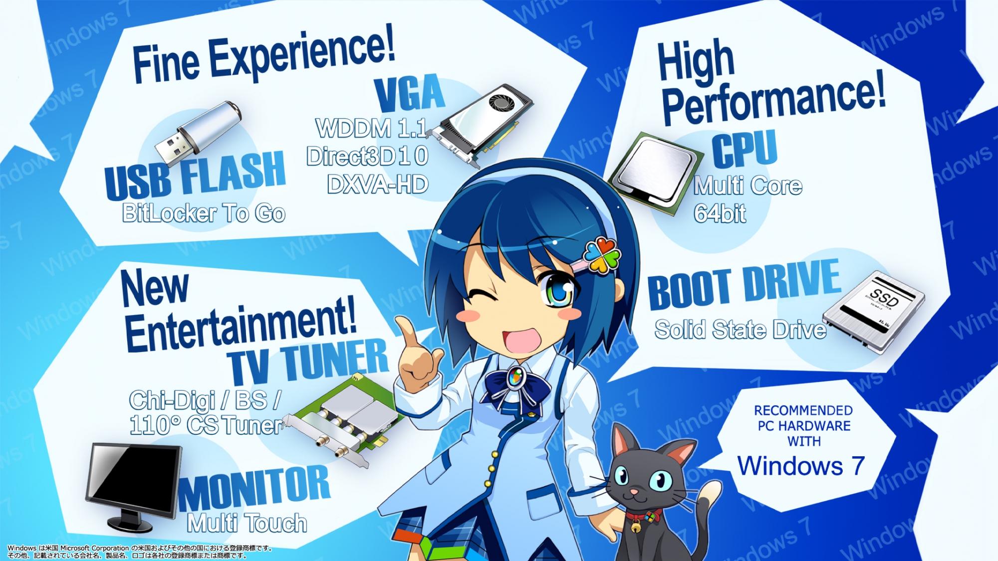animal blue_eyes blue_hair bow cat headband madobe_nanami microsoft os-tan short_hair skirt windows wink