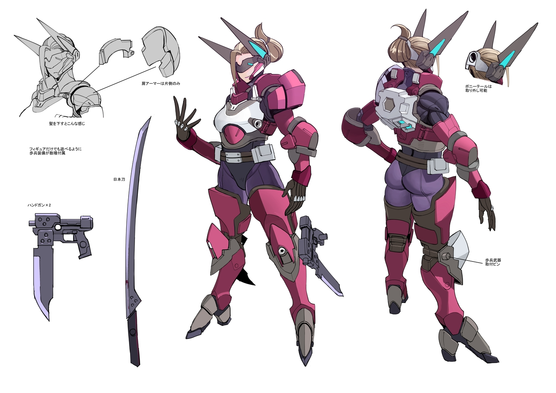 ass bodysuit brown_hair gun katana mechagirl moruga original ponytail sketch sword weapon white