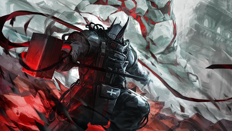 arknights armor horns kuro_dora mudrock_(arknights) polychromatic weapon