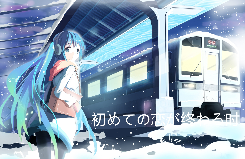 hatsune_miku sluchátka šála siji_ (szh5522) snow slzy vlak vocaloid when_the_first_love_ends_ (vocaloid)