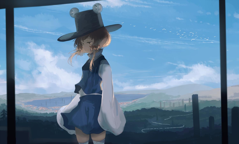 animal bird brown_eyes brown_hair clouds hat mifuru moriya_suwako ribbons scenic short_hair skirt sky thighhighs touhou twintails water