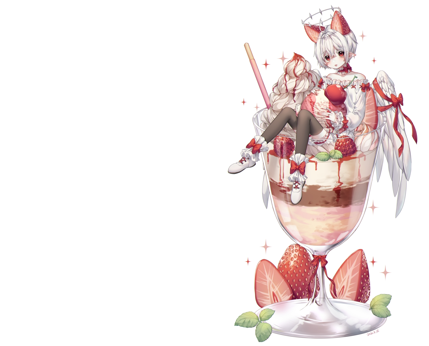 albinoraccoon all_male bloomers bow cherry food fruit halo ice_cream male original pointed_ears red_eyes ribbons short_hair strawberry white white_hair wings