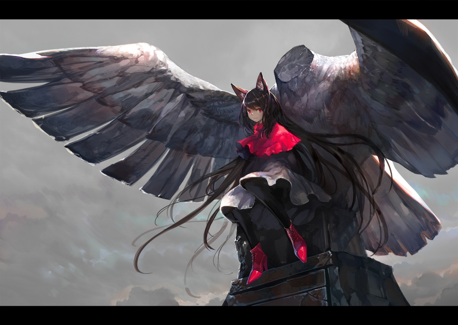 animal_ears black_hair cape dress imaizumi_kagerou long_hair onion_(onion_and_pi-natto) pantyhose red_eyes touhou wings wolfgirl