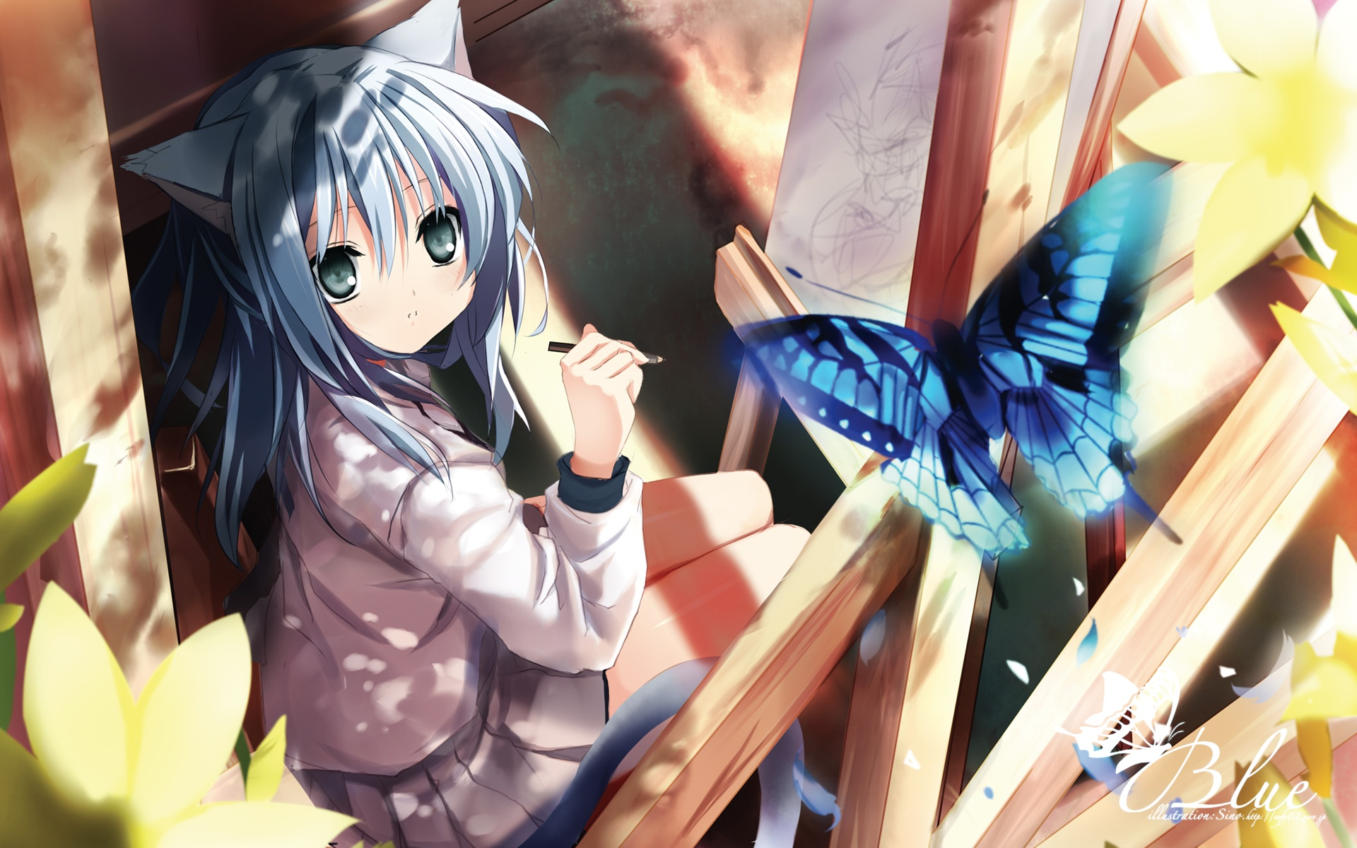 animal_ears blue_hair blush butterfly catgirl i.s.w. long_hair original shino_(eefy) skirt tail