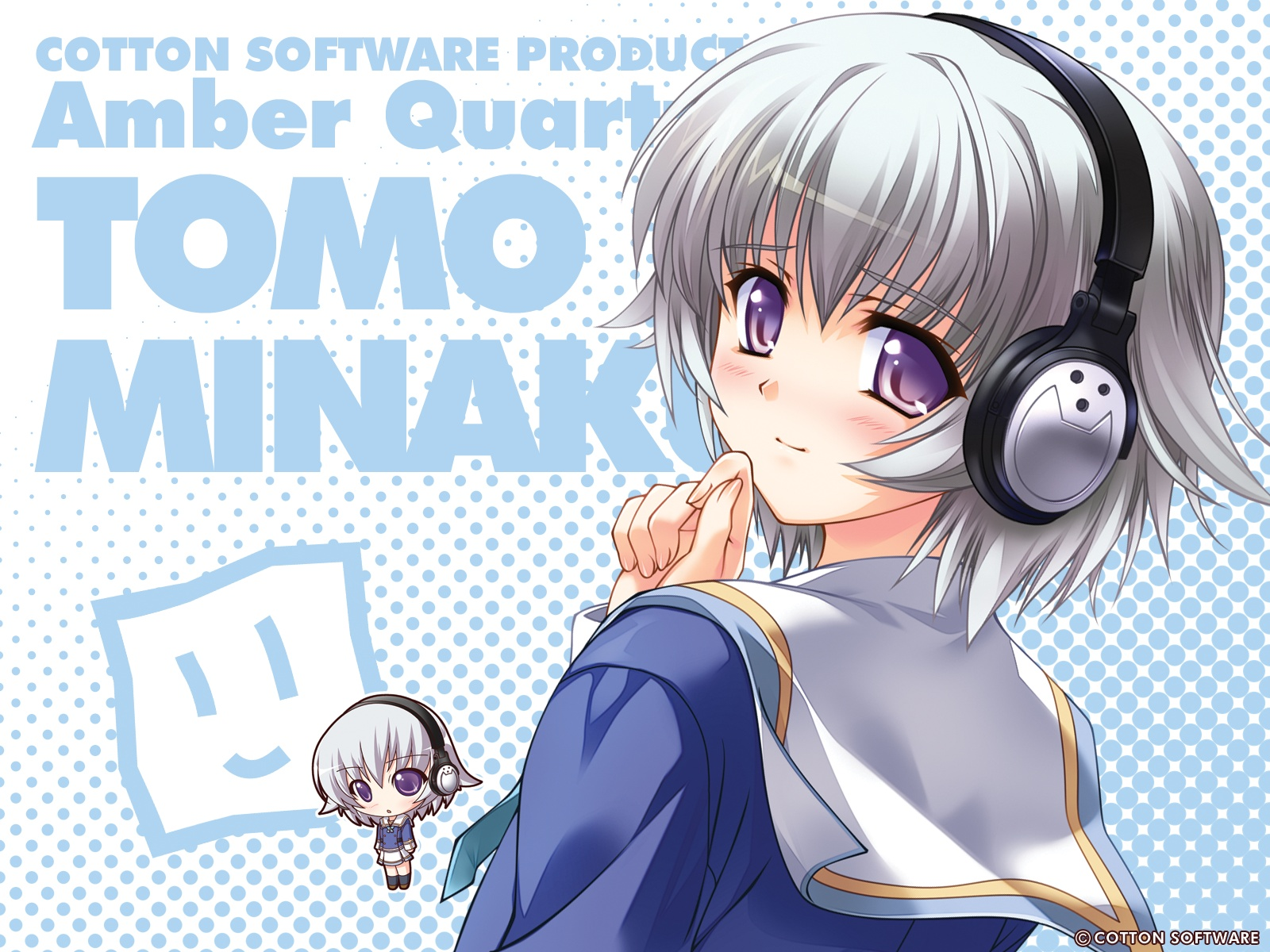 amber_quartz chibi gray_hair headphones purple_eyes tomo_minakura
