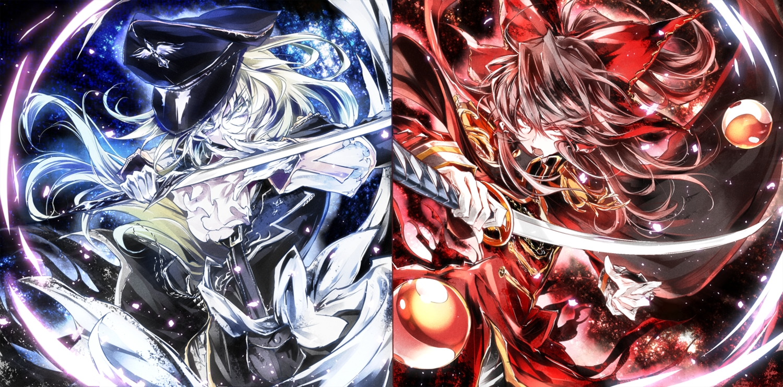 2girls black_hair bow hakurei_reimu hat kanaria_(artist) katana kirisame_marisa long_hair red_eyes sword touhou weapon white_hair