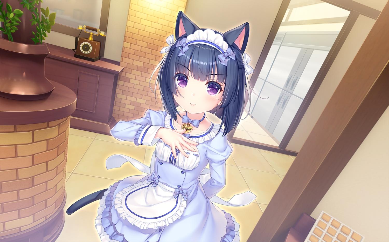 animal_ears black_hair bow catgirl game_cg headband loli maid minazuki_shigure nekopara neko_works purple_eyes sayori short_hair tail waitress