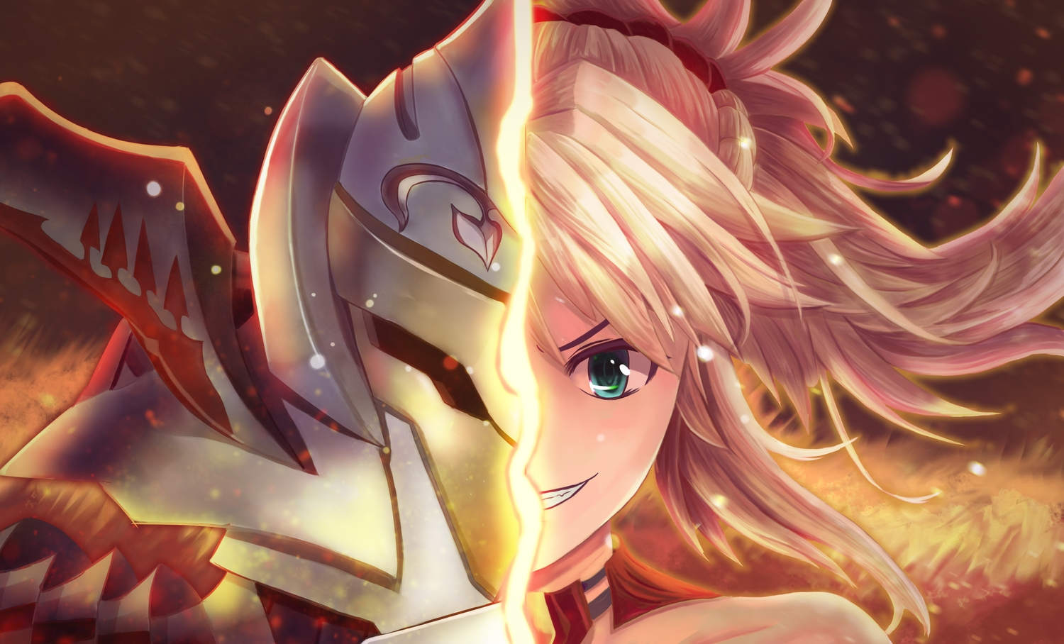 armor blonde_hair close fate/apocrypha fate/grand_order fate_(series) green_eyes long_hair mordred ponytail red_eyes synn032