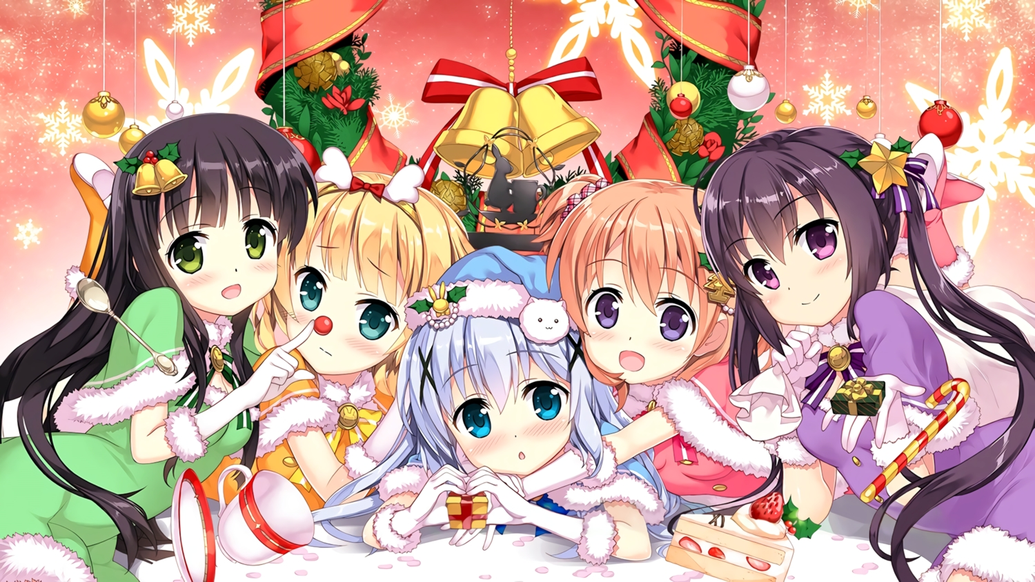 christmas fujima_takuya gochuumon_wa_usagi_desu_ka? group kafuu_chino kirima_sharo tagme tedeza_rize third-party_edit tippy_(gochiusa) ujimatsu_chiya