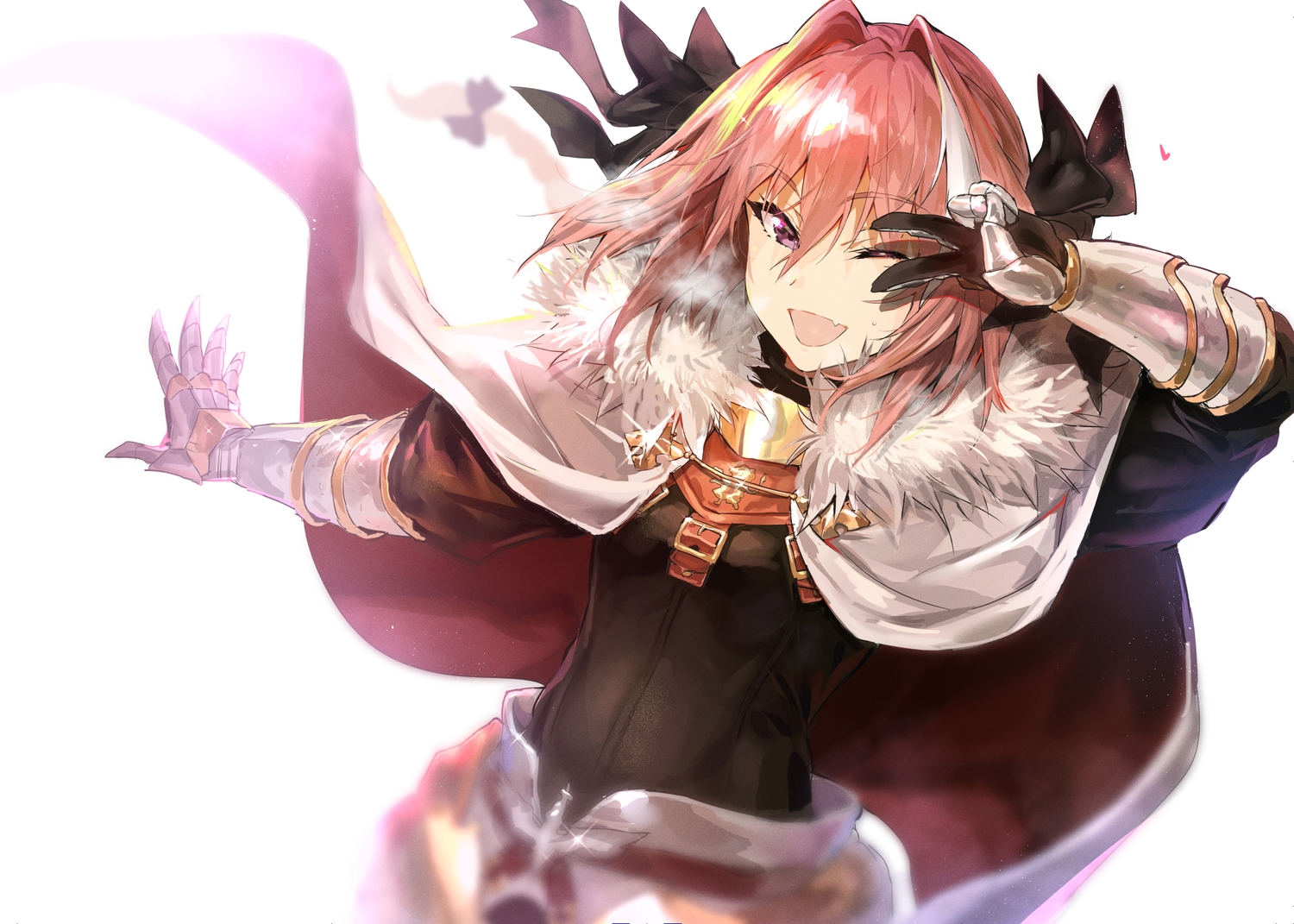 all_male armor astolfo bow cape fang fate/grand_order fate_(series) gloves long_hair male pink_hair ponytail purple_eyes shiroinuchikusyo trap wink