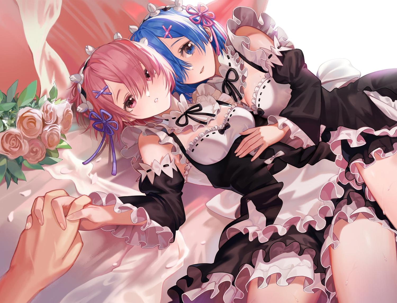 2girls blue_eyes blue_hair flowers headband maid peach_luo pink_eyes pink_hair ram_(re:zero) rem_(re:zero) re:zero_kara_hajimeru_isekai_seikatsu rose short_hair twins
