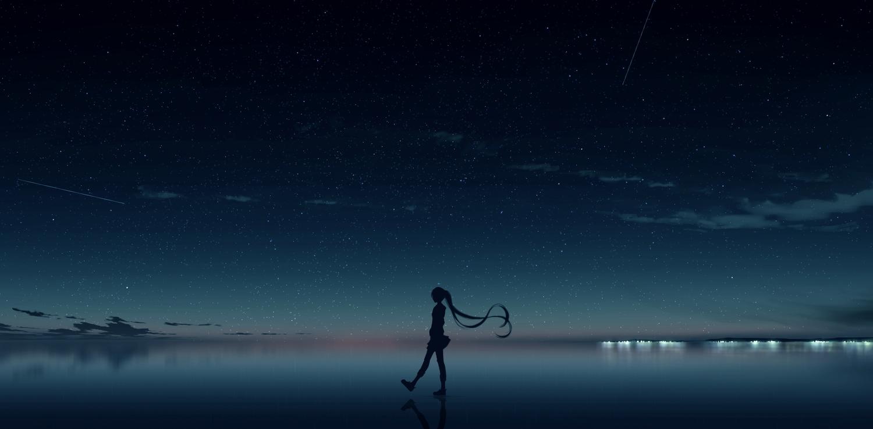 kijineko long_hair original scenic silhouette stars twintails