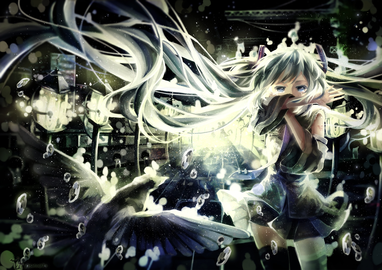 animal aqua_hair bird blue_eyes bubbles hatsune_miku long_hair skirt tattoo thighhighs twintails vocaloid yasato