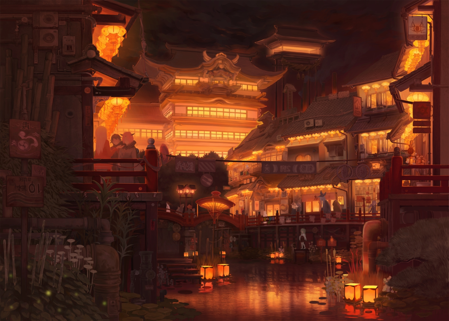 building city hat horns japanese_clothes miko night original scenic torahico water witch_hat