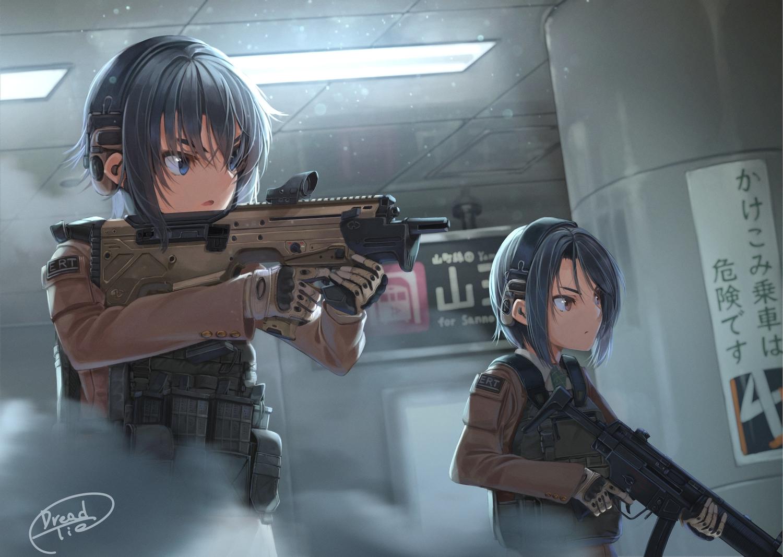 2girls black_hair blue_eyes dreadtie gloves gun military original short_hair signed uniform weapon