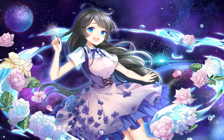 aqua_eyes black_hair dress flowers long_hair original planet rose yuu_li_(glass)